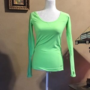 Lorna Jane neon green workout long sleeve top